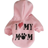 Dog Clothes Puppy Hoodies Coat Jacket Pet Small Dog Apparel Casual Warm Clothing Cat Outfit Love Mommy Roupas de Perros 2