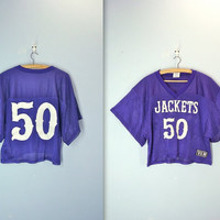 80s football jersey - CROPPED purple top - sports mesh jersey - Jackets