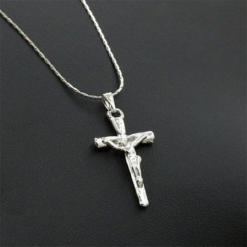 Trendy Stainless Steel Simple Little Cross Pendant Necklace