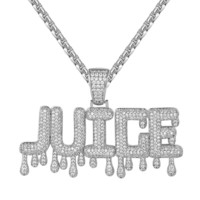 New White Men's Hip Hop Juice drip Letter Pendant Necklace