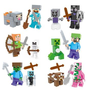 Legoing Minecrafted Series Action Figure Block Toys Steve Zombie Alex Witch Zombie Skeleton Building Blocks Kid Toy For Children