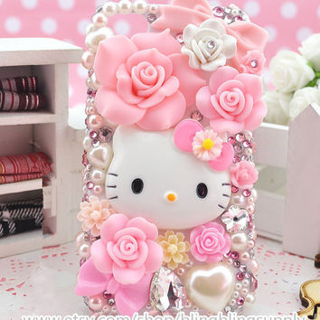 Bling Lovely Pink Cat iphone 4/4s/5/5s/5c Case,Apple ipod 4/5,Samsung Galaxy S3/S4/S4 Active,Samsung Note 1/2/3,Htc One,Blackberry Q10 Z10