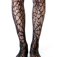 Lip Service Spiderweb Tights Black One