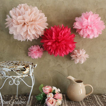 ON SALE 10 Tissue Pom Poms, Wedding Reception Decorations,Ceremony Decorations,Nursery Decor,Fowers