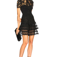 JONATHAN SIMKHAI Crepe Applique Mini Tee Dress in Black | FWRD