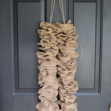 Ruffled Burlap Garland, 8 Feet, Natural Rustic Country, Gathered Banner, Wedding, Party, Home Holiday Fireplace Mantel, Door, Christmas