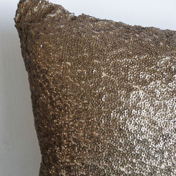 Sequins Antique Gold Throw Pillow Satin Textured Decorative Pillows 18x18 cushion cover, Home Decor, Holiday Pillows, Holiday Decor, Gifts