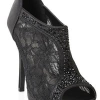 black lace high heel bootie with stones and zip back - debshops.com