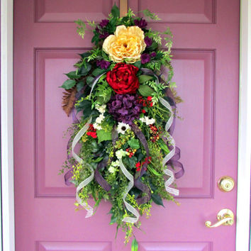 Spring wreath swag, All season wreath, floral door swag, Summer door wreath, Everyday wreath swag, year round wreath swag, front door decor