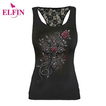 Punk Style Women T-Shirt S-5XL Tee Top Slim FIit Lace Patchwork Sleeveless Skull Print T-Shirt LJ8463R