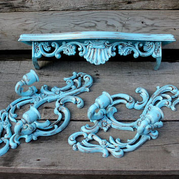 Trio of Tiffany Blue Decor - Wall Shelf and a Pair of Sconces - Teal Ornate Sconces - Floating Shelf - Vintage Decor - Homco - Metal Sconces