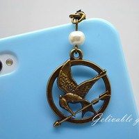 iPhone 5 4S 4 charm,3.5mm dust proof plug with hunger games mockingjay and Peeta pearl charms,fit for samsung Blackberry HTC PSHG01