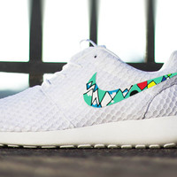 Mens and Womens Custom Nike Roshe Run, custom design, unisex, modern artist colors, Red, south beach teal