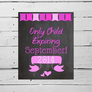 HUGE 24x36 Valentine's Day Pregnancy Announcement Pregnancy Reveal - Only Child Expiring Chalkboard Sign Valentine Photo Prop for Big Sister
