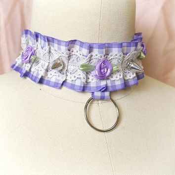 Kitten Play Choker Necklace Lilac Lavender Purple Lace Spikes Rose Ring kitty collar Jewelry Handmade , pastel goth Lolita steampunk cute