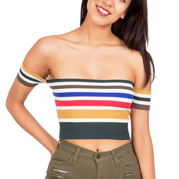 Vintage Rainbow Crop Top