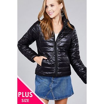 Ladies fashion plus size long sleeve quilted padding jacket Cute Casual Vintage Affordable Plus Size Clothes for Women