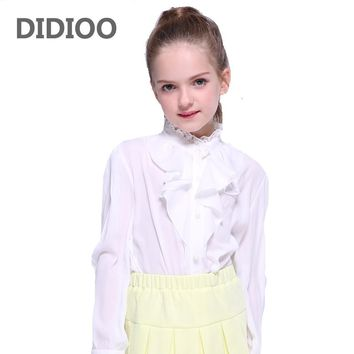 Girls School Uniforms Chiffon White Blouses For Girls Toddlers Clothing Lace Collar Ruffle Shirts