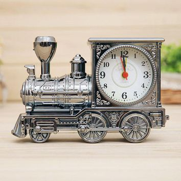 Home Decor Vintage Alarm Clock Men Retro Train Office Desk Alarm Clock Birthday Xmas creative Novelty Gift