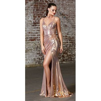 Long Fitted Gown Rose Gold Metallic Liquid Effect Gathered Waistline