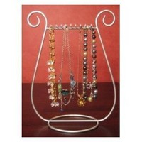 Silver JEWELRY harp NECKLACE RACK stand HOLDER gift