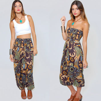 Vintage 90s HAREM Pants Earth Tone FLORAL Print  Strapless JUMPSUIT Relaxed Indian Trouser Sarouel Jodpher