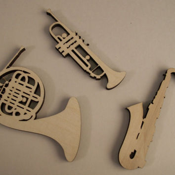 Music Instruments Wood Shapes, French Horn, Trumpet, Saxophone, Laser Cut, Music Wood Ornaments, Christmas Decor, Ready to Paint Wood Shapes