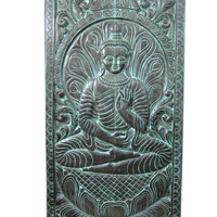 Spa Decorative Wall Sculture Panel Vitarka Mudra Teaching Buddha hand Carving slider Door 72 Inches
