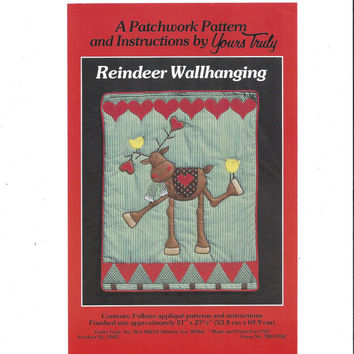 Yours Truly Patchwork Pattern for Reindeer Wallhanging, UNCUT, Whimsical Reindeer, 21 x 27.5 Inches, Christmas Pattern, 1980s Holiday Decor