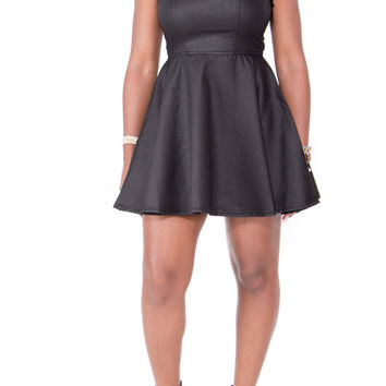 Sexy Stretch Denim Flare Bottom Skater Dress (Black)