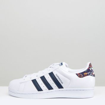 adidas Originals White Superstar Sneakers With Print Detail at asos.com