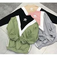 Adidas Originals Stylish Trending Women Clover Print Casual Joining Together Classic Three Stripe Long Sleeve V Collar Sweater Top I-XMCP-YC