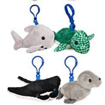 """Wildlife Tree 3.5"""" Mini Small Stuffed Animals Keychain Backpack Clip Bundle Ocean Animal Toys or Under The Sea Party Favors for Kids"""