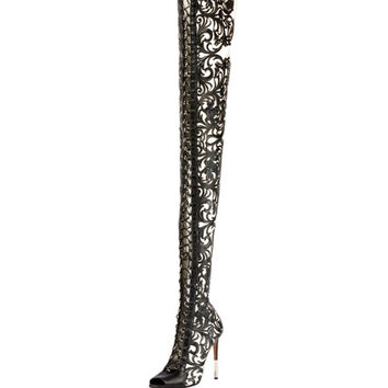 Balmain Campbel Over-the-Knee Floral Boot