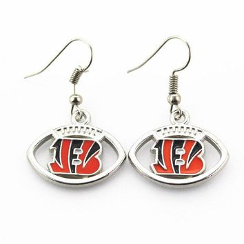New Arrival 6 pair/lot USA Cincinnati Bengals Football Earring Team Sports Long ear hook Drop Earrings for Women Fans
