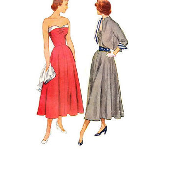 1940s Simplicity Vintage Sewing Pattern Tea Dress Formal Casual Party Dress Fitted Bodice Full Skirt Strapless Bolero Jacket Swing Bust 30