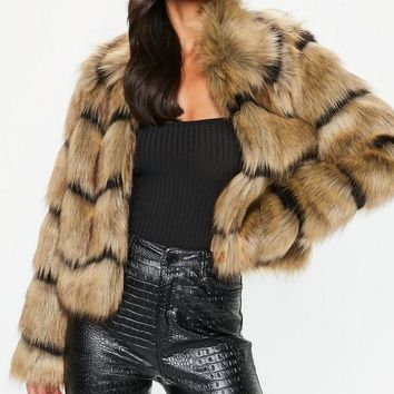 Missguided - Brown Faux Fur Stripe Coat