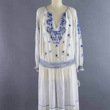 Vintage 1920s Embroidered Peasant Dress / White & Blue Cotton Gauze