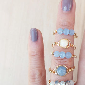 Light Blue Stacking Ring, Glass Bead Ring, Gemstone Rings, Wire Wrap Rings, Dainty Ring, Skinny Stacking