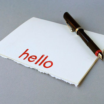 Red Notecard Hello Greeting Card Red and White 5 by CursiveArts