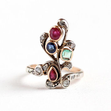 Victorian Gemstone Ring - Antique 14k Rose Gold & Silver Ruby, Sapphire, Emerald, Diamond Flower - Vintage Fine Giardinetti EGL Appraisal