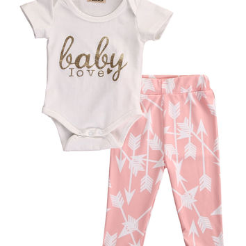 2PCS/ Golden Printed Rompers+ Pink Arrow Leggings Outfit for NB Girls
