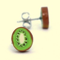 Kiwi fruit stud earrings