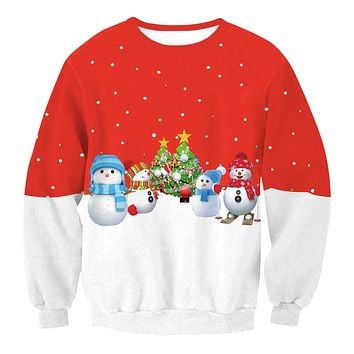 Snowman Digital Print Color Block Women Scoop Christmas Party Sweatshirt