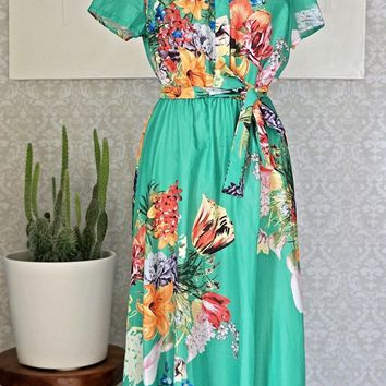 Modern Floral + Romantic Belted Maxi Dress