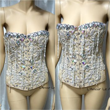 Great Gatsby Iridescent Nude Diamond Beaded Fringe Corset