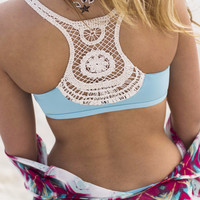 L'Space Wild Child Blue Rain Crochet Bikini Top