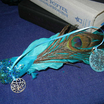 Silver Scroll Pattern on Aqua Abalone Shell Pendant with Ribbon and End Charm