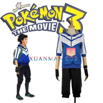 Mobile Game  Go Blue Cosplay Costume Trainer Uniform Men Fashion Outfit Clothing Full Set Custom Made Any Size W1096Kawaii Pokemon go  AT_89_9