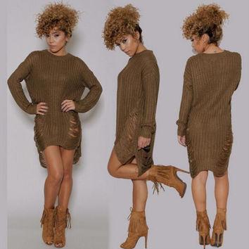Large Size Ribbed Knitted Sweater B0013568